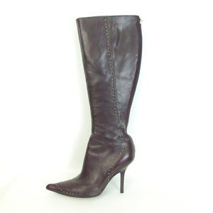 CHRISTIAN DIOR Brown Leather Heeled Boots Studded